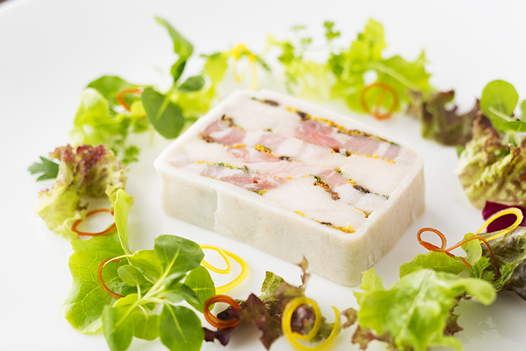 Terrine-orange-flavor-of-young-chicken-pig-moriyu-mushrooms